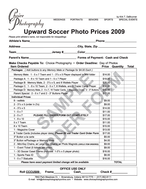 ... Sports Pictures Order Form.